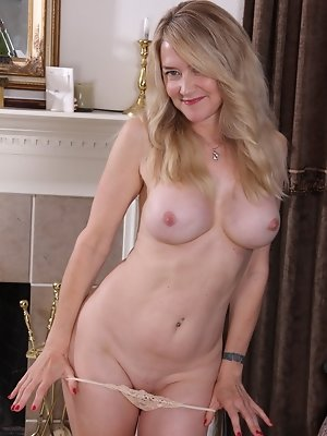 Naughty Blonde American housewife getting wet